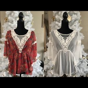Free people sheer peasant tops size small